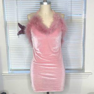 Pink Mini Velvet Slip Dress